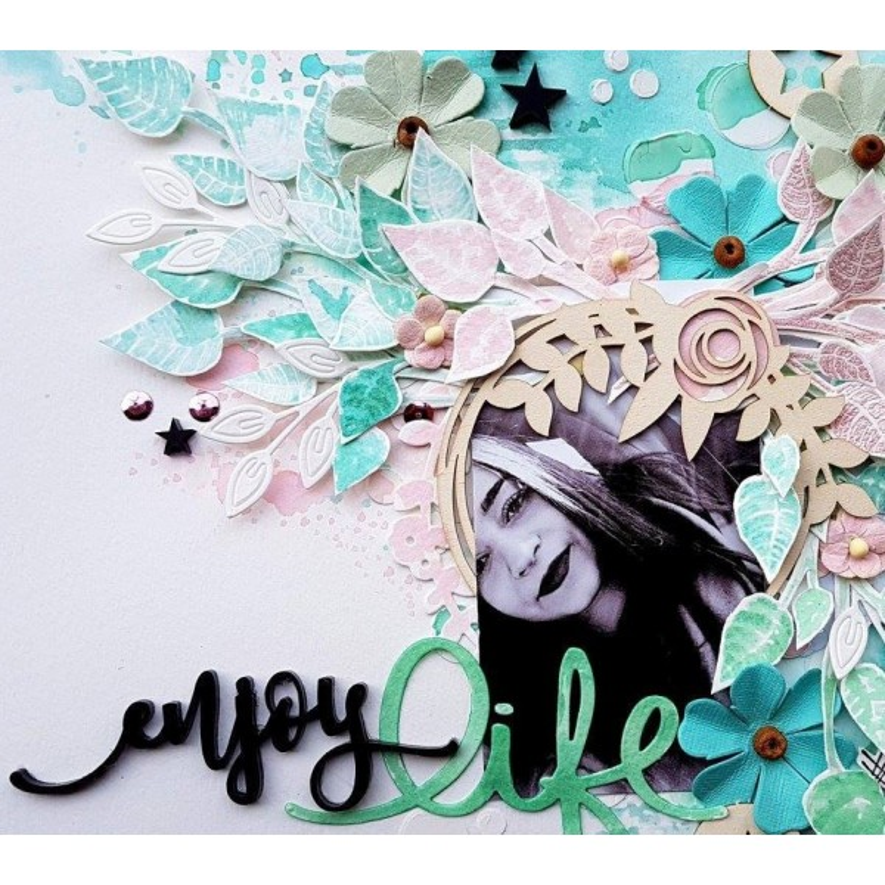 "Mot ""enjoy"" en Acrylique Noir 8,9 x 3,1 cm - Scrapmouset"