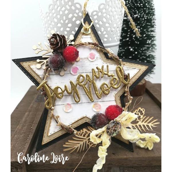 Mots en Carton bois - Joyeux Noël (cadeau et branche de gui) - 8 x 3,5 cm