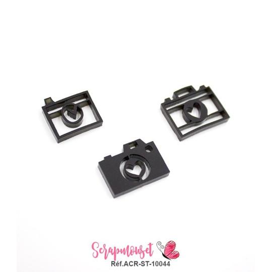 Trio d'embellissements - 3 Appareils photos en Acrylique noir - Scrapmouset