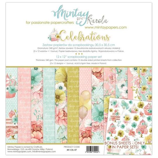 """Collection 12 papiers 30 X 30 """"Celebrations"""" de Mintay"""