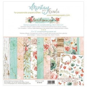 "Collection 12 papiers 30 x 30 ""Birdsong"" de Mintay"