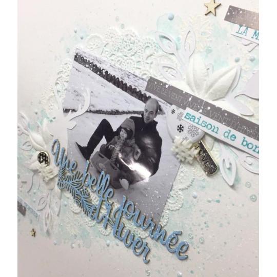 """Mot """"Une belle journée d'hiver"""" en Carton bois - 12,1 x 3,6 cm"""