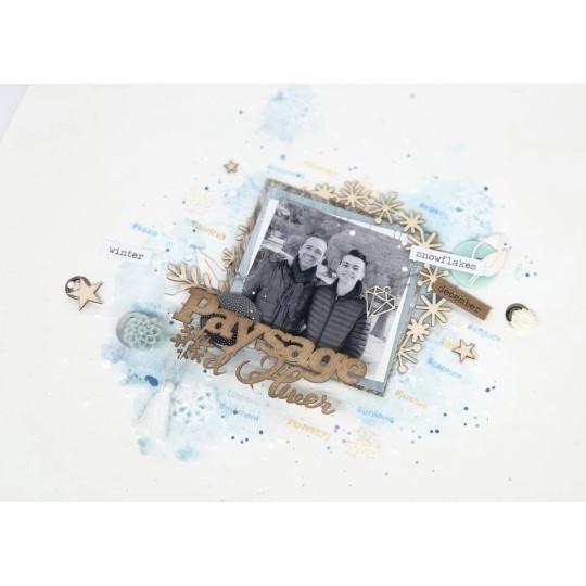 """Mot """"Paysage d'hiver"""" en Carton bois -  7,8 x 3 cm"""