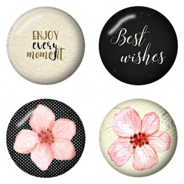"Lot de 4 badges collection ""Cherry Blossom"" de Studio 75"