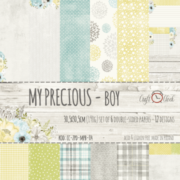 "Set 6 papiers ""My Precious Boy"" de Craft O Clock"