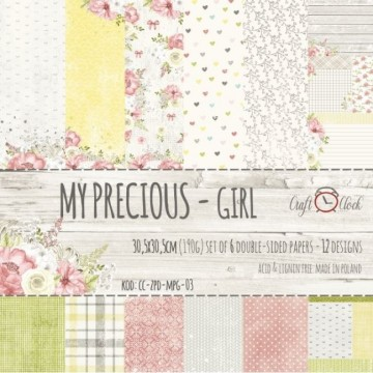 """Set 6 papiers """"My Precious Girl"""" de Craft O Clock"""