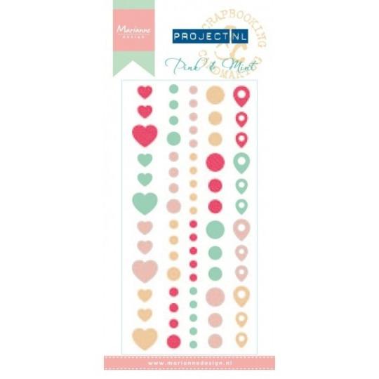 "Enamel dots autocollants ""Pink & Mint"""