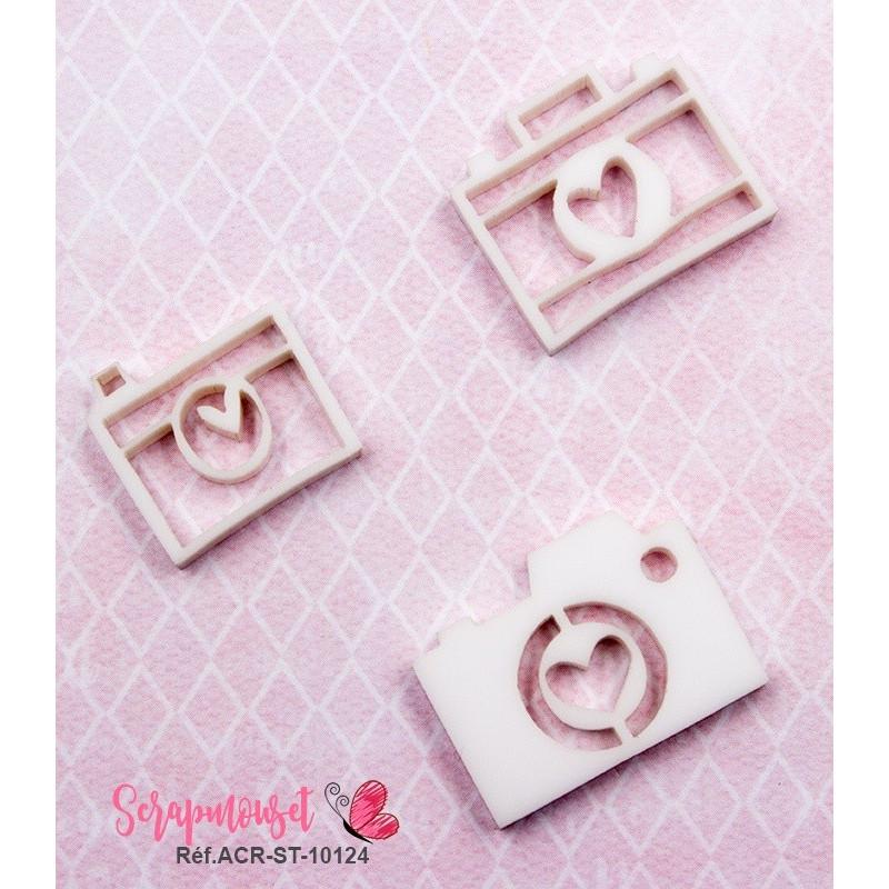 Trio d'embellissements - 3 Appareils photos en Acrylique blanc - Scrapmouset
