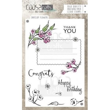 "Set de 9 tampons clear ""Envelope flowers "" Coosa Crafts"
