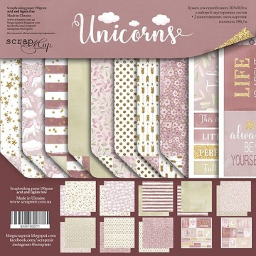 "Set de 10 papiers scrapbooking collection ""Unicorns"" de Scrapmir"
