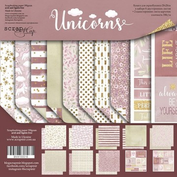 "Set de 10 papiers 20 x 20 collection ""Unicorns"" de Scrapmir"