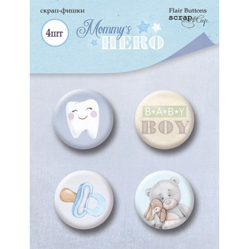 "Lot de 4 badges collection ""Mommy's Hero"" de Scrapmir"