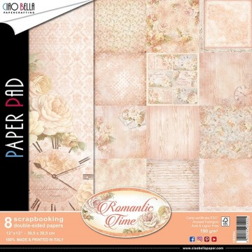 "Set de 8 papiers 30,5 x 30,5 collection ""Romantic Time"" de Ciao Bella"