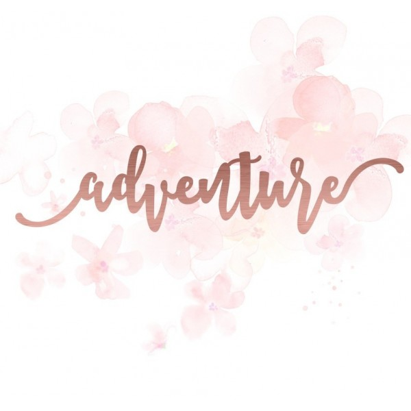 "Mot ""adventure"" en Acrylique Rose Gold 14,2 x 3,3 cm - Scrapmouset"