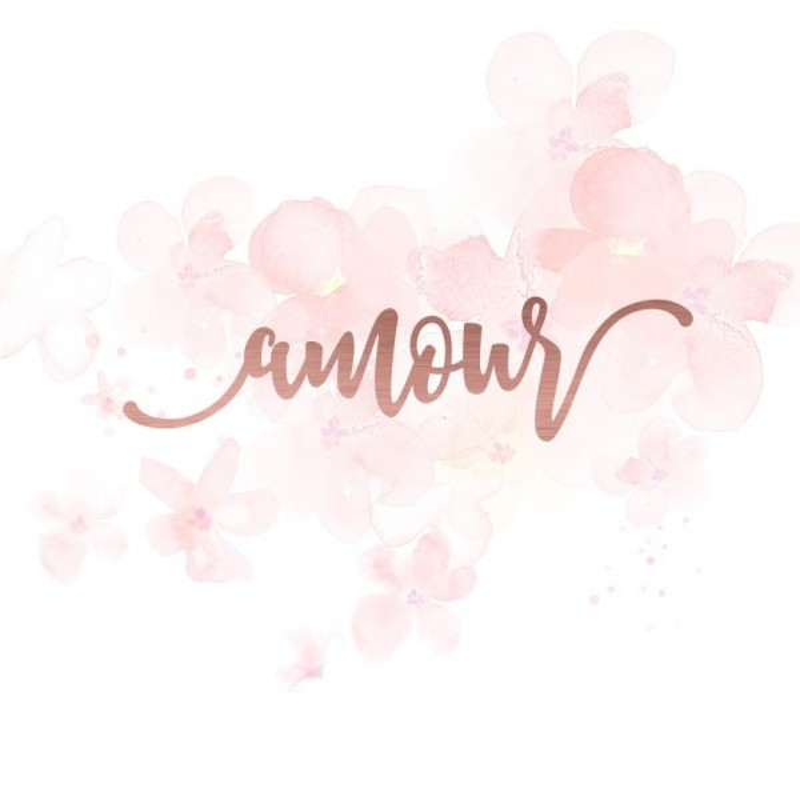 """Mot """"amour"""" en Acrylique Rose Gold 10,7 x 2,7 cm - Scrapmouset"""