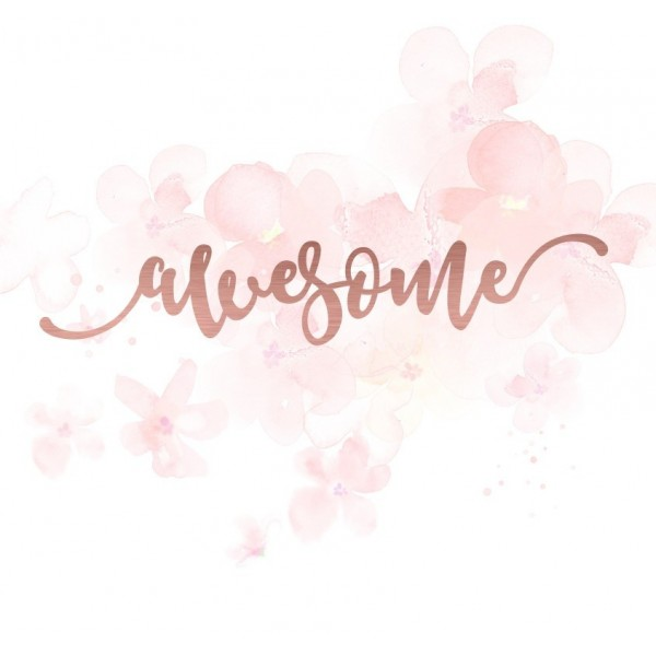 "Mot ""awesome"" en Acrylique Rose Gold 13 x 2,6 cm - Scrapmouset"