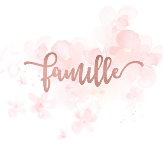 """Mot """"famille"""" en Acrylique Rose Gold 11 x 3,7 cm - Scrapmouset"""