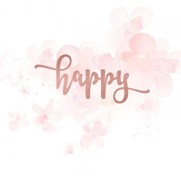 "Mot ""happy"" en Acrylique Rose Gold 9,6 x 4,1 cm - Scrapmouset"