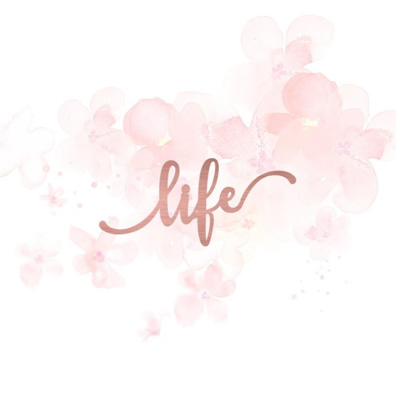 """Mot """"life"""" en Acrylique Rose Gold 7,5 x 3,3 cm - Scrapmouset"""