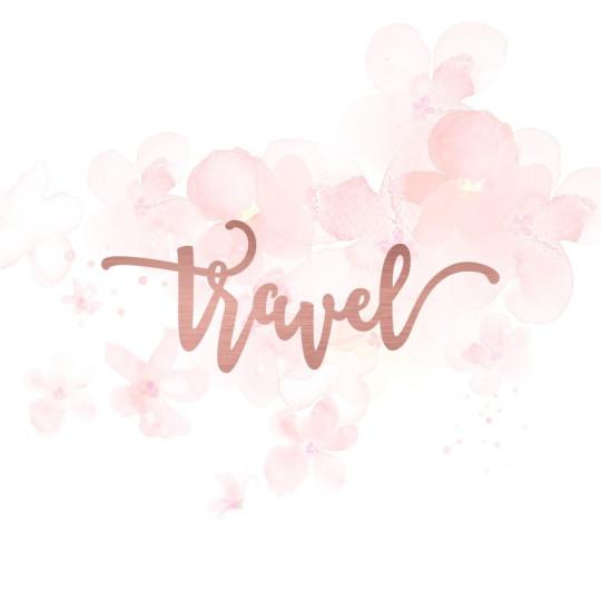 """Mot """"travel"""" en Acrylique Rose Gold 9,9 x 3,8 cm - Scrapmouset"""