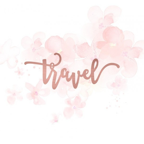 "Mot ""travel"" en Acrylique Rose Gold 9,9 x 3,8 cm - Scrapmouset"