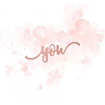 "Mot ""you"" en Acrylique Rose Gold 7,8 x 2,9 cm - Scrapmouset"