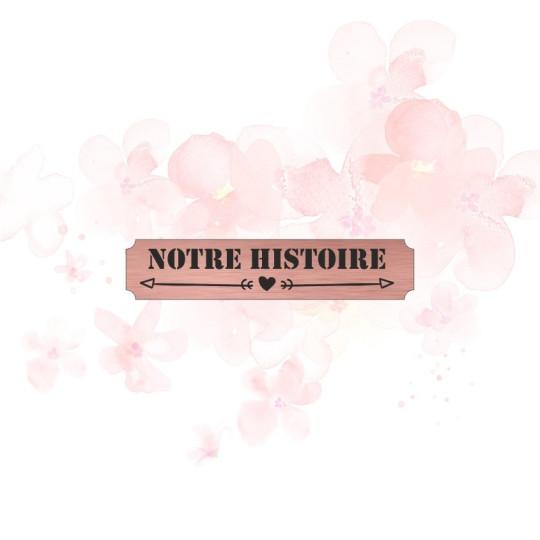 """Etiquette """"notre histoire"""" en Acrylique Rose Gold 4,8 x 1 cm - Scrapmouset"""