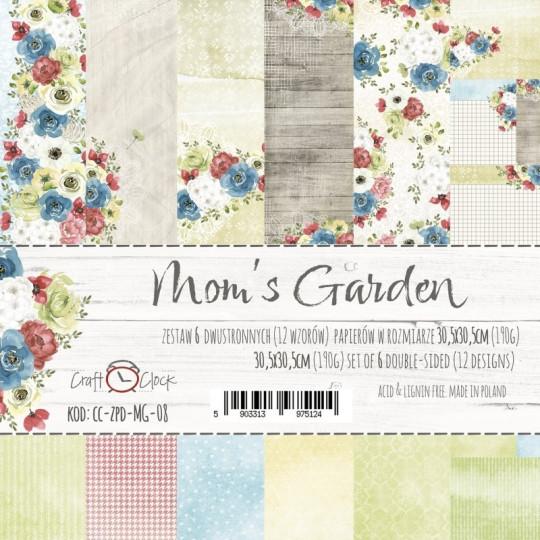 """Set 6 papiers """"Mom's Garden"""" de Craft O Clock"""