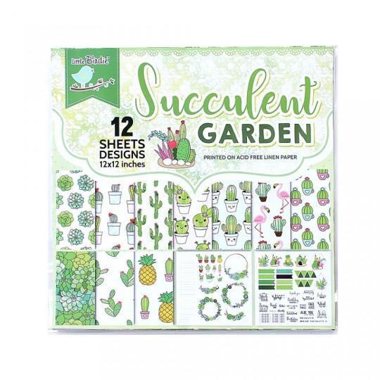 """Set 12 papiers """"Succulent Garden"""" de Little Birdie"""
