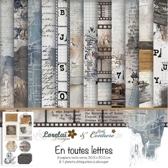 """Set 6 papiers collection """"En toutes lettres"""" de Lorelaï Design"""