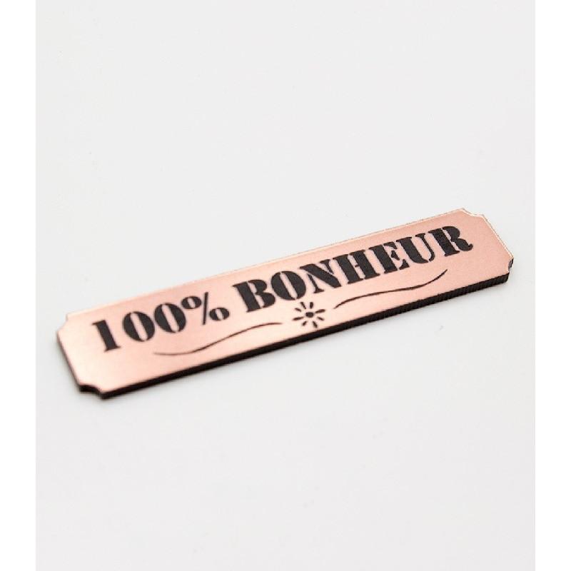 """Etiquette """"100% bonheur"""" en Acrylique Rose Gold 4,8 x 1 cm - Scrapmouset"""