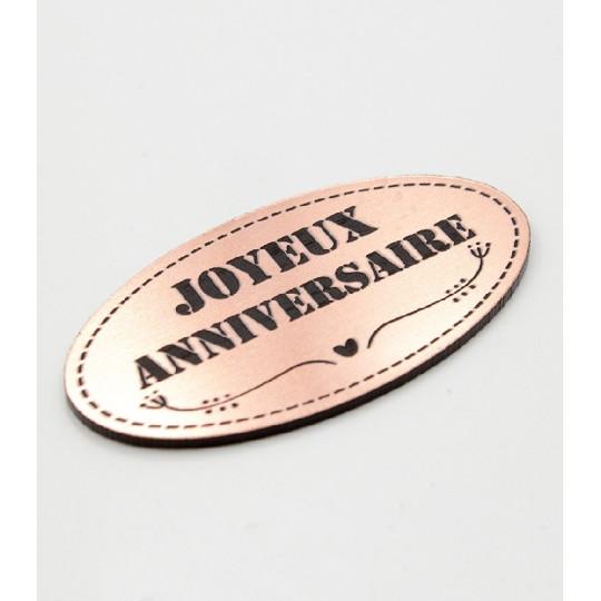 """Etiquette """"Joyeux anniversaire"""" en Acrylique Rose Gold 4,8 x 2,5 cm - Scrapmouset"""
