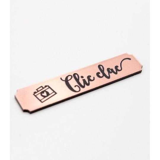 """Etiquette """"clic clac"""" en Acrylique Rose Gold 4,8 x 1 cm - Scrapmouset"""