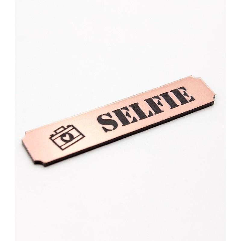 """Etiquette """"selfie"""" en Acrylique Rose Gold 4,8 x 1 cm - Scrapmouset"""