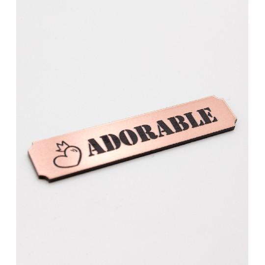 """Etiquette""""adorable"""" en Acrylique Rose Gold 4,8 x 1 cm - Scrapmouset"""