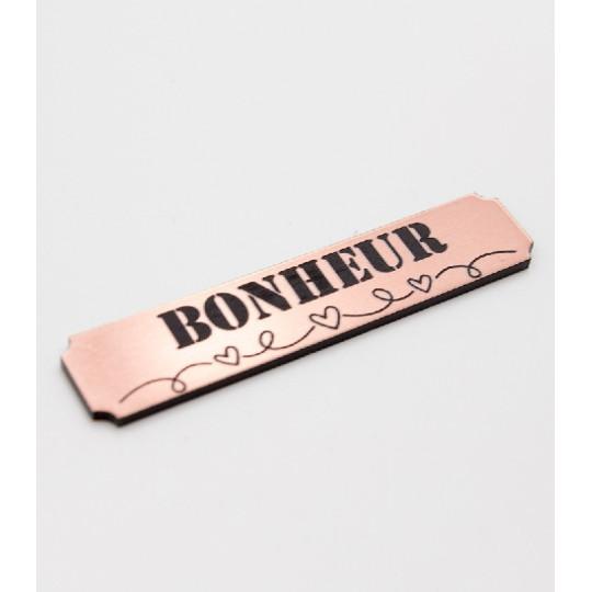 """Etiquette """"bonheur"""" en Acrylique Rose Gold 4,8 x 1 cm - Scrapmouset"""