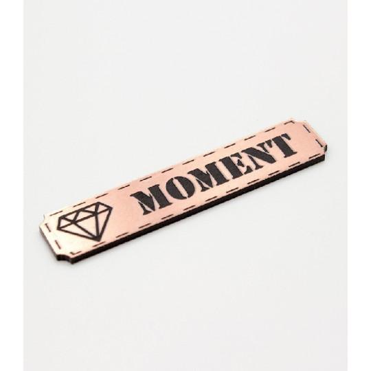 """Etiquette """"moment"""" en Acrylique Rose Gold 4.8  x 1 cm - Scrapmouset"""