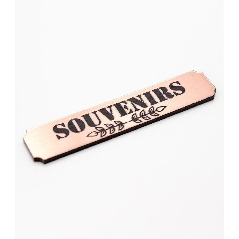 """Etiquette """"souvenirs"""" en Acrylique Rose Gold 4,8 x 1 cm - Scrapmouset"""