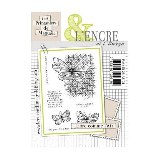 """Set 7 tampons clear """"Libre comme l'air"""" de L'Encre et l'image"""