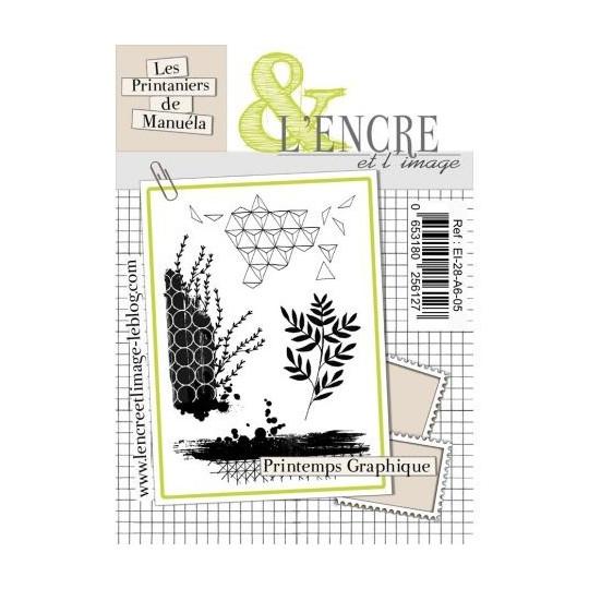"""Set 4 tampons clear """"Printemps Graphique"""" de L'Encre et l'image"""