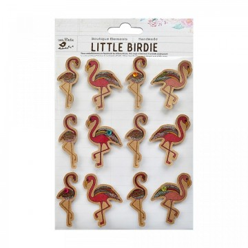 "Embellissements 3D ""Flamingo kraft"" de Little Birdie"