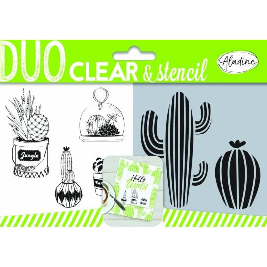 """Set de 4 tampons et stencil """"Cactus"""""""