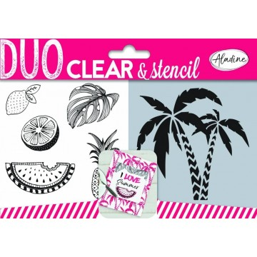 "Set de 5 tampons clear et stencil ""Jungle"""