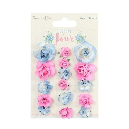 """Lot de 16 fleurs """"Bleu ciel et rose"""" en papier mûrier"""