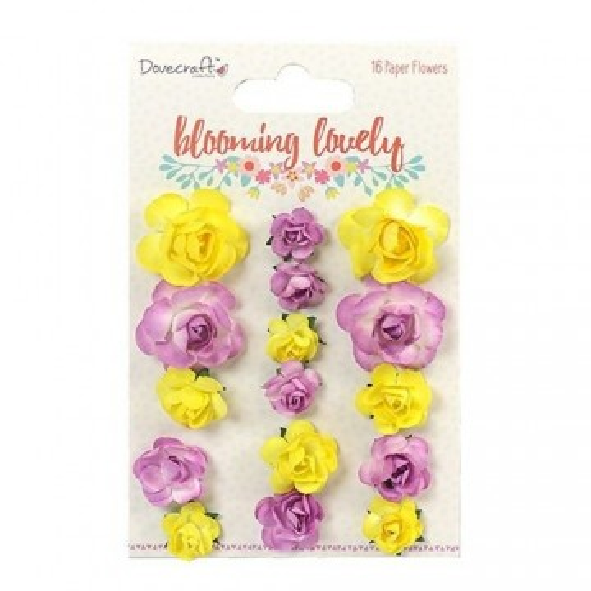 """Lot de 16 fleurs """"Jaune et Parme"""" en papier mûrier"""