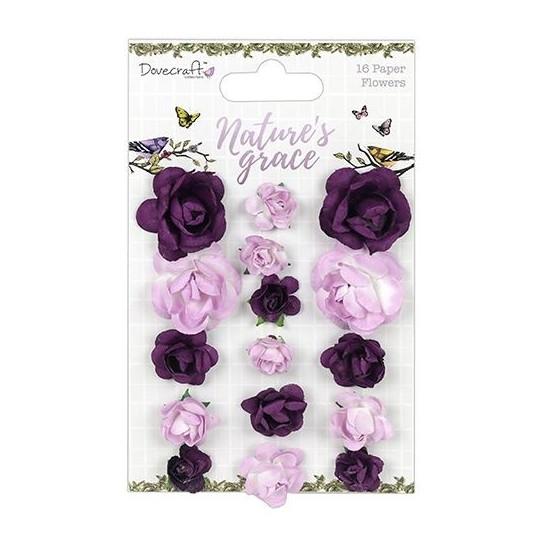 """Lot de 16 fleurs """"Violet et Parme"""" en papier mûrier"""