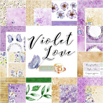 "Set papiers scrapbooking collection ""Violet Love"" de Studio 75"