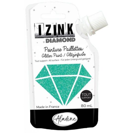 """Peinture paillettes """"Izink Diamond Turquoise"""" Aladine"""