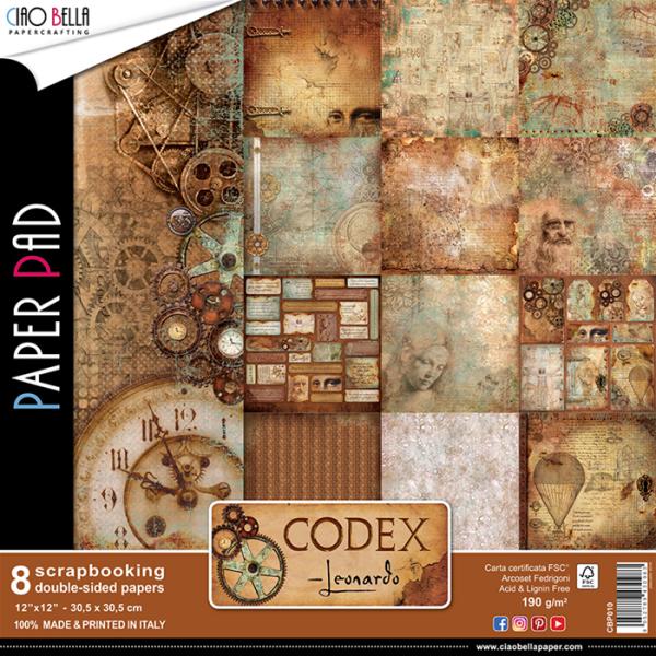 """Set de 8 papiers 30,5 x 30,5 collection """"Codex Léonardo"""" de Ciao Bella"""