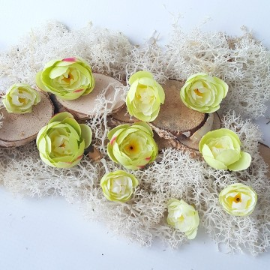 "Fleurs tissu ""Renoncules"" vert pastel"